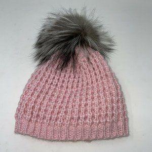 Kyi Kyi Womens Pink Gray Pompom Knit Beanie Hat OS